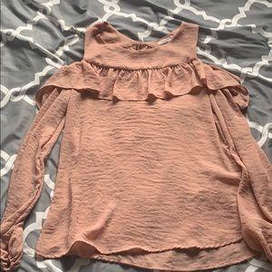 Blush, cold shoulder long sleeve blouse.